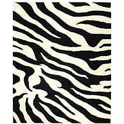 Handmade Soho Zebra Wave White/ Black N. Z. Wool Rug (7'6 x 9'6)