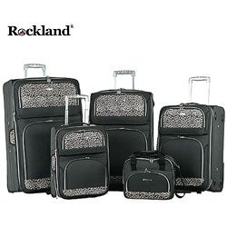 Rockland Black Leopard Print 5-piece Luggage Set