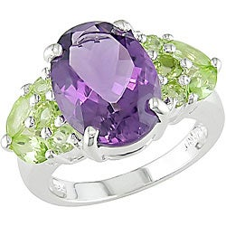 Miadora Sterling Silver Amethyst and Peridot Ring