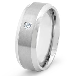 Men's Titanium Satin Finish Beveled Edge CZ Ring (8 mm)