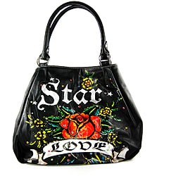 Tattoo-style 'Love and Star' Black Handbag