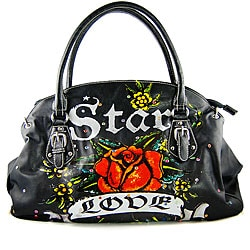 Tattoo-style 'Star, Love and Rose' Black Handbag