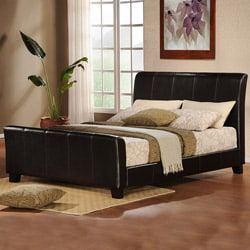 ETHAN HOME Tuscany Villa Dark Brown Upholstered Queen Sleigh Bed