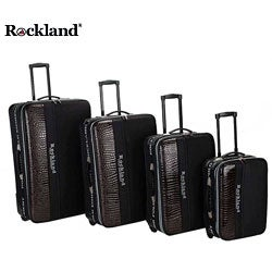 Rockland Polo Brown Crocodile 4-piece Luggage Set