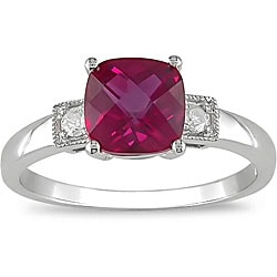 10k Gold Created Ruby/ Diamond Accent Ring (I-J, I2-I3)