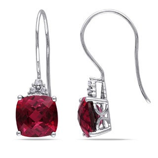 Miadora 10k White Gold Diamond and Created Ruby Earrings