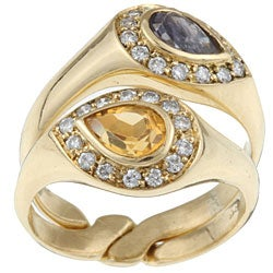 18k Yellow Gold Citrine and Sapphire Joining Rings (Size 7)
