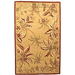 Floral Beige/ Rose Rug (5' x 8')