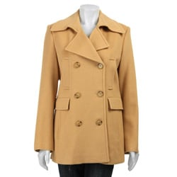 Marvin Richards Women's Camel Hair Wool Peacoat