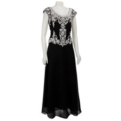 J Kara Sleeveless Black Beaded Long Formal Dress