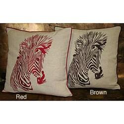 Lola Zebra Embroidered Throw Pillow