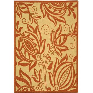 Indoor/ Outdoor Andros Natural/ Terracotta Rug (4' x 5'7)