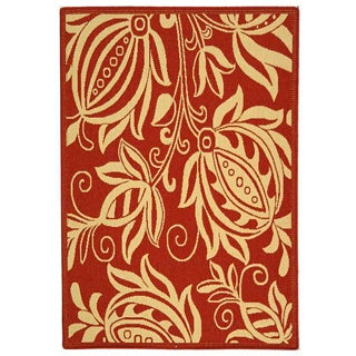 Indoor/ Outdoor Andros Red/ Natural Rug (2'7 x 5')
