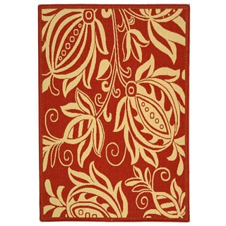 Safavieh Indoor/ Outdoor Andros Red/ Natural Rug (4' x 5'7)