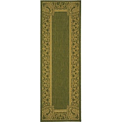 Indoor/ Outdoor Abaco Olive/ Natural Runner (2'4 x 6'7)
