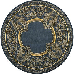 Indoor/ Outdoor Abaco Blue/ Natural Rug (6'7 Round)