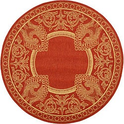 Indoor/ Outdoor Abaco Red/ Natural Rug (5'3 Round)
