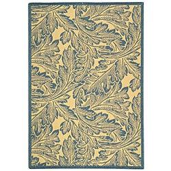 Indoor/ Outdoor Acklins Natural/ Blue Rug (4' x 5'7)