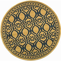 Indoor/ Outdoor Tropics Natural/ Blue Rug (6'7 Round)
