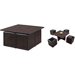 Furniture of America Yusawa 5-piece Coffee Station and Stool Set