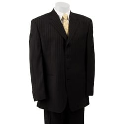 FUBU Men's Black Stripe 4-button Suit