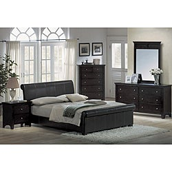 Contemporary Espresso Leather 5 Piece King Size Bedroom Set Overstock Shop