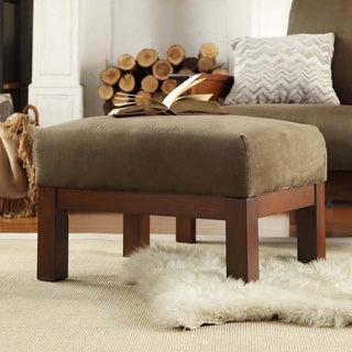 TRIBECCA HOME Hills Mission-style Oak and Olive Ottoman