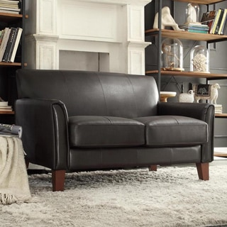TRIBECCA HOME Uptown Dark Brown Faux Leather Modern Loveseat