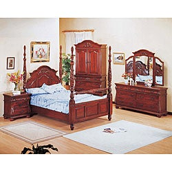 Hudson Cherry 4-piece Poster King-size Bedroom Set