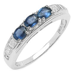 Malaika Sterling Silver Blue Sapphire and Diamond Accent Ring