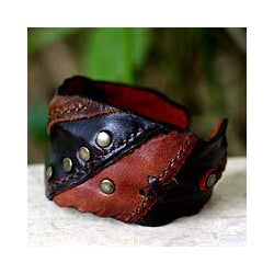 Leather 'Wild Brown' Cuff Bracelet (Thailand)