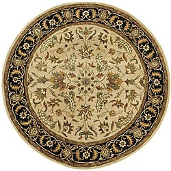 Patina Beige/ Black Wool Rug (6' Round)