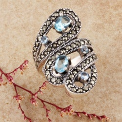 Sterling Silver Marcasite and CZ Bypass Ring (Thailand)