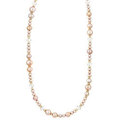 Charming Life 14k Goldfill Golden Pearl and Crystal Necklace (4-8.5 mm)
