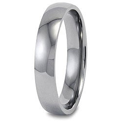 Men&#39;s Titanium Polished Domed Comfort-fit Band (4 mm)