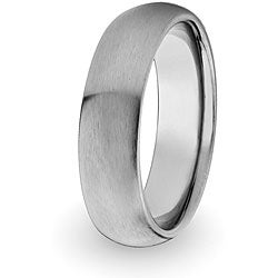 Men&#39;s Titanium Domed and Brushed Comfort-fit Band (6 mm)