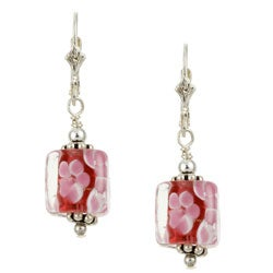Charming Life Sterling Silver Pink Art Glass Cube Earrings