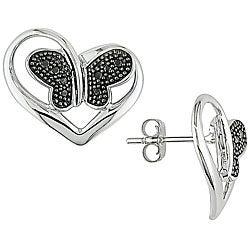 14k Gold 1/10ct TDW Black Diamond Butterfly Heart Earrings