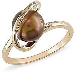 14k Yellow Gold Brown Freshwater Pearl Ring (8 mm)