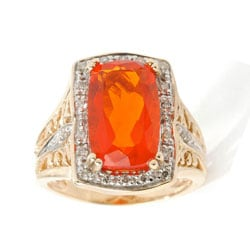 Michael Valitutti 14k Gold Fire Opal and 1/5ct TDW Diamond Ring