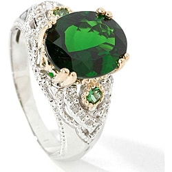 Michael Valitutti 14k Chrome Diopside and1/6ct TDW Diamond Ring