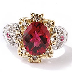Michael Valitutti 14k Gold Rubellite, 1/4ct TDW Diamond Ring (I, SI)