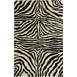 nuLOOM Zebra Animal Pattern Black/ White Wool Rug (8'6 x 11'6)