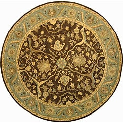Safavieh Handmade Antiquities Mahal Brown/ Blue Wool Rug (3'6 Round)