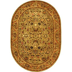 Handmade Antique Kasadan Olive Green Wool Rug (4'6 x 6'6 Oval)