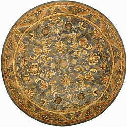 Handmade Exquisite Blue/ Gold Wool Rug (8&#39; Round)