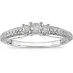 Miadora 14k White Gold 1/2ct TDW Diamond 3-stone Ring (I-J, I2-I3)