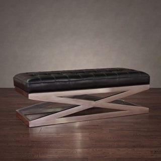 Black Leather X Bench