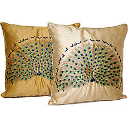 Peacock Embroidered Pillow