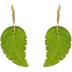 10k Yellow Gold Green Jade Leaf Earrings